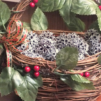 Christmas Basket with Frosted Sweet Gum Balls