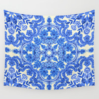 Cobalt Blue & China White Folk Art Pattern Wall Tapestry by Micklyn