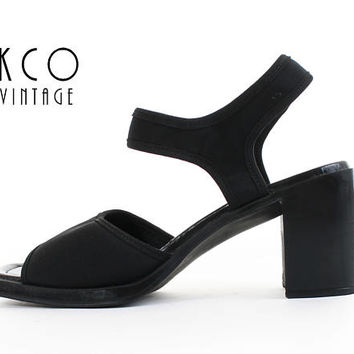Slingback Sandals 9.5 Neoprene Sandals Black Chunky Sandals Minimalist High Block Heel 90s Vintage Shoes Women's Size US 9.5 / UK7.5 / EUR40