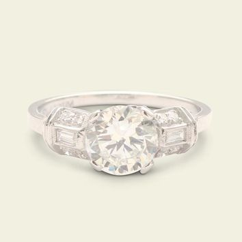 Art Deco 1.33ct Old European Cut Diamond Engagement Ring with Planar S | Erica Weiner