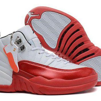 DCCKL8A Jacklish Womens Air Jordan 12 Gs White And Red For Girls On Sale