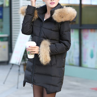 Winter big fur collar white duck down coat ghl3439
