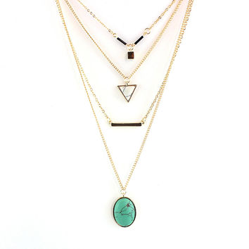 CHOKER Brand Bohemia Body Chain Triangle Necklace Multilayer Turquoise Gold Necklace for Women Boho Summer Jewelry SNE160055