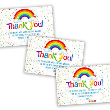 Confetti Rainbow Party Tags - Rainbow Sprinkle Thank You Cards - Rainbow Birthday - Rainbow Baby Shower - Confetti Thank You Card - Girl