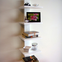 Proman White Spine Wall Mounted Book Shelves