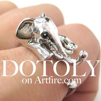Elephant Animal Wrap Around Ring in Shiny Silver - Sizes 4 to 15 Available