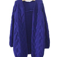 Royal Blue Retro Crochet Knit Cardigan