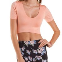 Short Sleeve Curved Hem Crop Top by Charlotte Russe