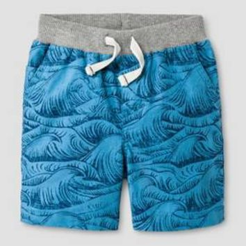 Baby Boys' Wave Print Pull-on Shorts Blue - Cat & Jack™