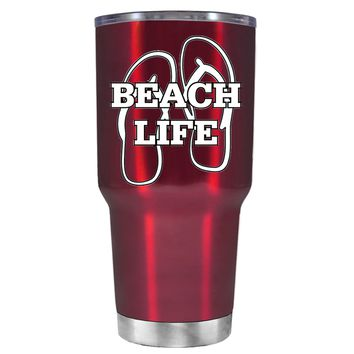The Beach Life Sandals on Translucent Red 30 oz Tumbler Cup