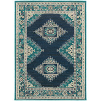 Oriental Weavers Highlands 6658A Blue/Ivory Medallion Area Rug
