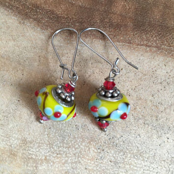 Yellow and Red Earrings, Floral Earrings, Dangle Earrings, Light Blue Floral Earrings, Lampwork Earrings, Gift for Her