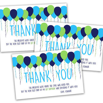 Lime Green Navy Boy Birthday Thank You Cards - Green Balloons Birthday Thank You Card - Big One First Birthday Thank You - Party Favor Tags