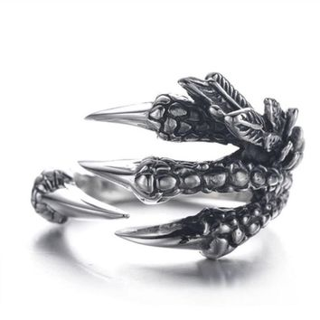 1PC Sale Punk Silver Men Women Ring Stainless Steel Dragon Claws Size 8  9  10 Personality iker Rings Vintage Gothic Jewelry