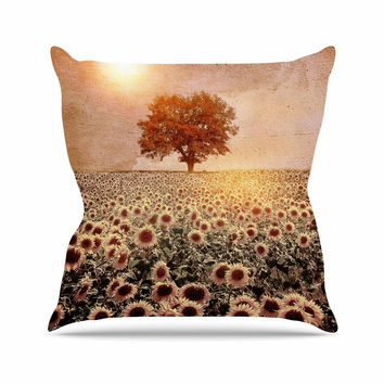 "Viviana Gonzalez ""Lone Tree & Sunflowers Field"" Sunny Nature Throw Pillow"
