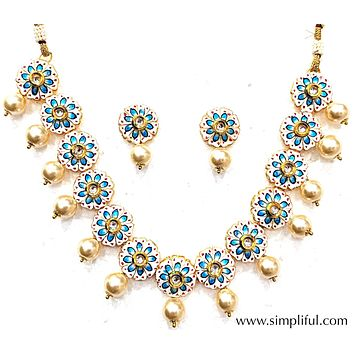 Hand painted flower choker Necklace and Earring set