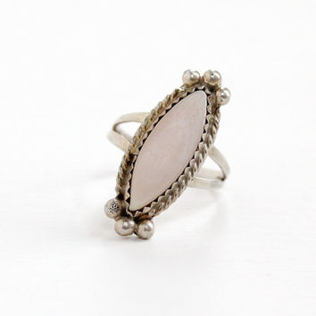 Vintage Sterling Silver Pink Mother of Pearl Ring - Size 5 1/2 Retro Southwestern Native American Style Braided Studded Jewelry