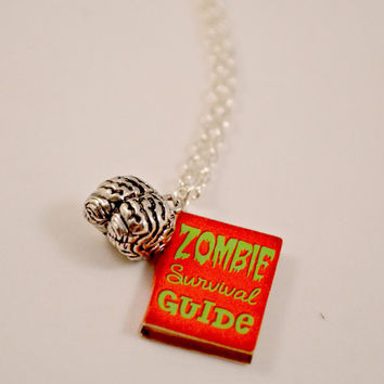 Zombie Survival Guide Book Necklace // Zombie Jewelry // Survival Kit // Zombie Survival Kit // Zombie Necklace // Zombie Guide Book