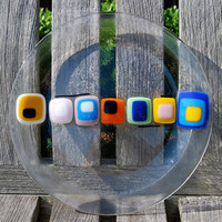 Colorful Plate Fused Art Glass Housewarming or Wedding Gift