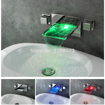 Bathroom Mixer Tap Color Changing LED Waterfall Wall Mount Bathroom Sink Faucet
