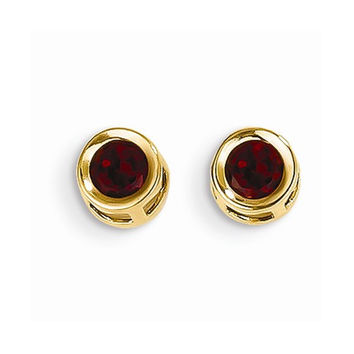 14k Yellow Gold Round Garnet Birthstone Earrings