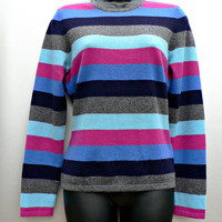 100% Cashmere Sweater by Lands' End - Pink, Aqua, Navy, Gray Stripe - Crewneck Pullover - Cute - Women's Size Small (S)