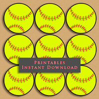 "2.5"" Softball Printable Cupcake Toppers Sports Theme Birthday Party DIY Printable INSTANT DOWNLOAD"