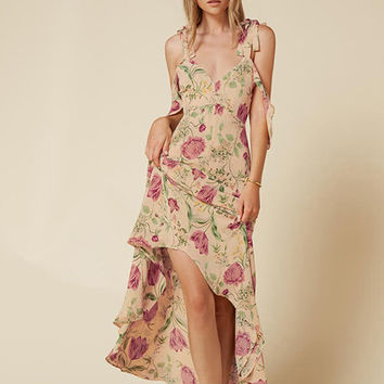 Floral Print Spaghetti Strap A-line Dress Plunge Neck Cut Out Backless Vestidos Loose Bohemian Maxi Beach Dress-0407