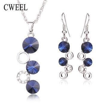 CWEEL African Beads Jewelry Sets Pendant Collar Statement Necklace Earrings Set For Women Vintage Party Holiday Accessories