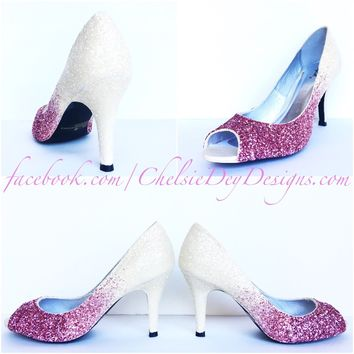 Pink Glitter Peep Toe Pumps, Ivory Ombre Wedding Open Toe High Heels