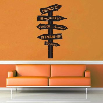 Fantasy Road Sign - Wall Decal - No 12$19.95