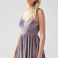 Kimchi Blue Vanessa Velvet Fit and Flare Playsuit | Urban Outfitters