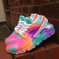 Neon 'pastels SUMMERS* Nike Air Huarache customs.