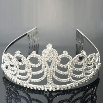 Medium Rhinestone Bridal Princess Tiara Crown Hair Comb Pin Silver