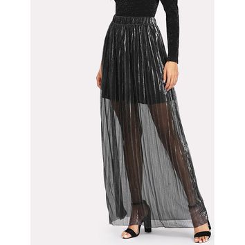 Silver Pleated Maxi Skirt