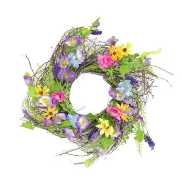 Wildflower Twig Spring Floral Wreath 24-Inch