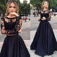 2017 Hot Sale Black Cheap 2 Pieces Prom Dress Long With Long Sleeves A Line Sexy O-Neck Lace vestidos de fiesta