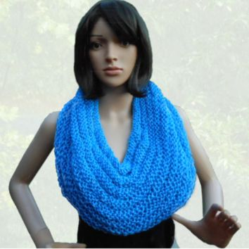 Hand Knit Cobalt Blue Hooded Cowl, Gift for Women, Gift for Teenagers
