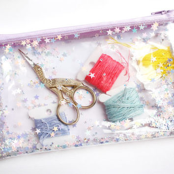 Lilac star / Pencil case, Transparent wallet, Clear bag, Purse organizer, glitter bag
