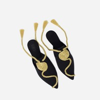 Sanayi 313 Tramontana Slippers - Black Gold - Alex Eagle