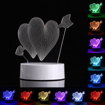 3D Heart Shape RGB USB Night Light Color Changing LED Table Lamp + 24 Key Controller Xmas Gift