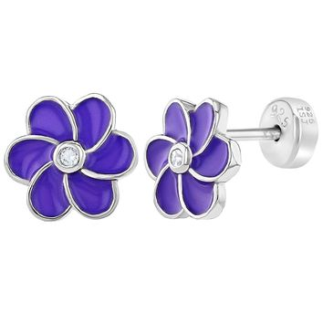 925 Sterling Silver Purple Enamel Flower Push Back Safety Earrings Baby Girls