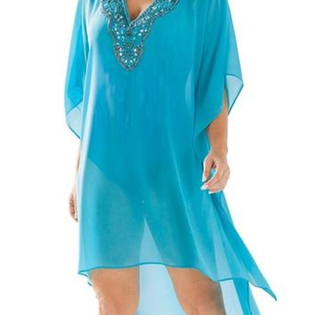 Rhinestone V Neck Blue Sheer Kimono Beach Cover Up Dress