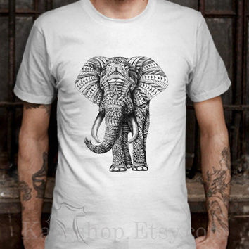 aztec elephant White Dsign t-shirt men S,M,L,XL