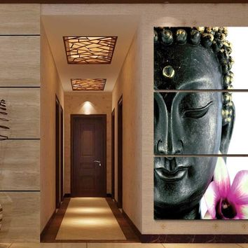 Framed Print Abstract orchid flower buddha painting home decor art Canvas Print Painting For Living Room Modular picture /PT0270