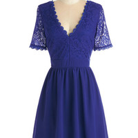 ModCloth Mid-length Short Sleeves A-line Craft Cocktails Dress in Cobalt
