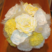 Rose & Carnation Bridal bouquet, wedding flowers, fake flower bouquet, silk bouquet, Paper flower bouquet, tossing bouquet,Yellow bouquet