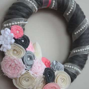Shabby Chic Wreath, Pink and Grey Wedding Wreath, Spring Wreath, Vintage Wedding Wreath, Pink and Grey Wreath, Pink and Grey Wedding Decor