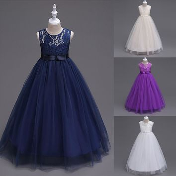 Cute Lace Kids Girls Princess Dresses White Purple Gray Kids Girl Sleeveless Mesh Wedding Pageant Ball Gown Dress Dresses