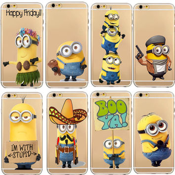 Mobile Phone Bags Cases Despicable Me Yellow Minion Design for iPhone 5c 5s 6  6sPlus Case Luxury Silicone Transparent Patteren